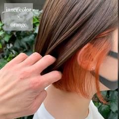 ナチュラル イヤリングカラー インナーカラーオレンジ ボブ ヘアスタイルや髪型の写真・画像