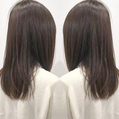 ナチュラル ストレート 暗髪 セミロング ヘアスタイルや髪型の写真・画像