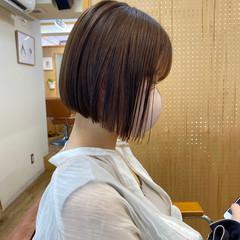 透明感カラー ミニボブ ボブ 切りっぱなしボブ ヘアスタイルや髪型の写真・画像