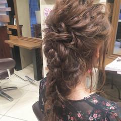 ゆるふわ 結婚式 ナチュラル 編み込み ヘアスタイルや髪型の写真・画像