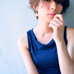 暗髪 大人かわいい パーマ ショート ヘアスタイルや髪型の写真・画像