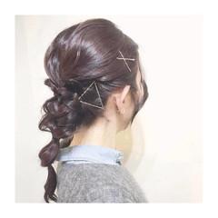 ゆるふわ 編み込み ハーフアップ 外国人風 ヘアスタイルや髪型の写真・画像