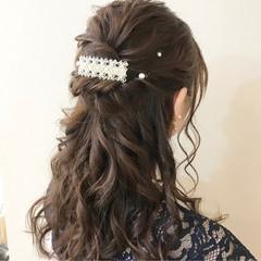 ヘアアレンジ 女子力 結婚式 セミロング ヘアスタイルや髪型の写真・画像