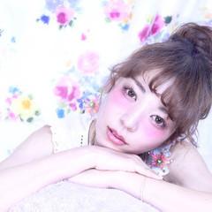 お団子 ヘアアレンジ セミロング 夏 ヘアスタイルや髪型の写真・画像