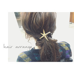 簡単ヘアアレンジ ゆるふわ ハーフアップ セミロング ヘアスタイルや髪型の写真・画像