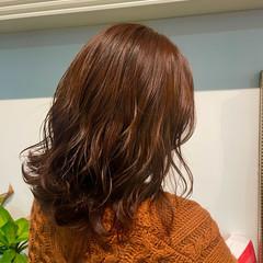オレンジブラウン セミロング ナチュラル オレンジ ヘアスタイルや髪型の写真・画像