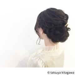 ヘアアレンジ フェミニン 花嫁 セミロング ヘアスタイルや髪型の写真・画像