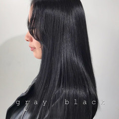 モード ブルーブラック ネイビー 暗髪 ヘアスタイルや髪型の写真・画像