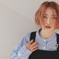オレンジ アプリコットオレンジ ナチュラル オレンジカラー ヘアスタイルや髪型の写真・画像