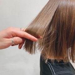 ベージュ ボブ ブラウンベージュ ブリーチ ヘアスタイルや髪型の写真・画像