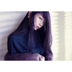 ロング 前髪あり 暗髪 冬 ヘアスタイルや髪型の写真・画像
