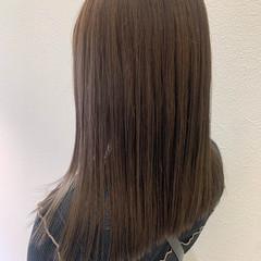 セミロング 透明感カラー 切りっぱなしボブ ナチュラル ヘアスタイルや髪型の写真・画像