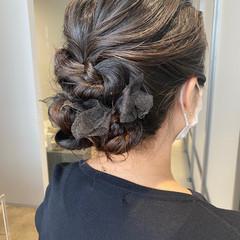 ナチュラル 結婚式ヘアアレンジ ヘアセット ヘアアレンジ ヘアスタイルや髪型の写真・画像