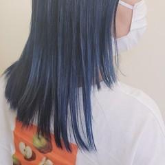 ブリーチ必須 ネイビーブルー ハイトーン モード ヘアスタイルや髪型の写真・画像