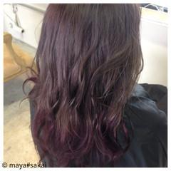 渋谷系 ブリーチ グラデーションカラー パープル ヘアスタイルや髪型の写真・画像