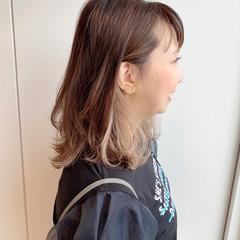 透明感カラー イヤリングカラー ミディアム インナーカラー ヘアスタイルや髪型の写真・画像