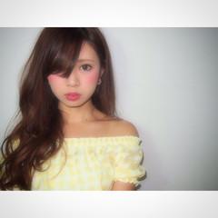 ヘアアレンジ ブラウン フェミニン 夏 ヘアスタイルや髪型の写真・画像
