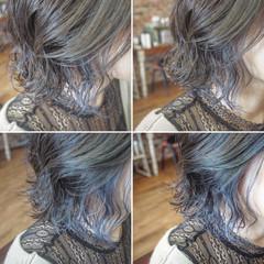 ボブ インナーカラー インナーブルー 切りっぱなしボブ ヘアスタイルや髪型の写真・画像