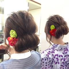 ミディアム かわいい ギブソンタック 簡単ヘアアレンジ ヘアスタイルや髪型の写真・画像