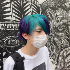 メンズスタイル ストリート インナーカラー メンズヘア ヘアスタイルや髪型の写真・画像