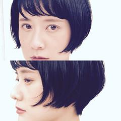ショートバング 暗髪 黒髪 モード ヘアスタイルや髪型の写真・画像
