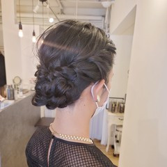ヘアセット 結婚式アレンジ セミロング 結婚式ヘアアレンジ ヘアスタイルや髪型の写真・画像