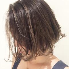 ボブ 外国人風カラー グレージュ ナチュラル ヘアスタイルや髪型の写真・画像