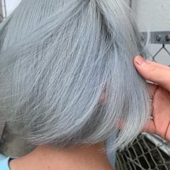 ボブ モード アッシュグレージュ ホワイトカラー ヘアスタイルや髪型の写真・画像