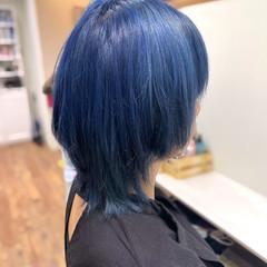 ブリーチカラー ネイビーブルー ブルー ストリート ヘアスタイルや髪型の写真・画像