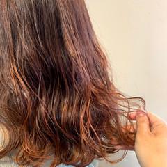 極細ハイライト ナチュラル セミロング ハイライト ヘアスタイルや髪型の写真・画像