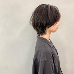 ストリート インナーカラー ショート インナーカラーオレンジ ヘアスタイルや髪型の写真・画像