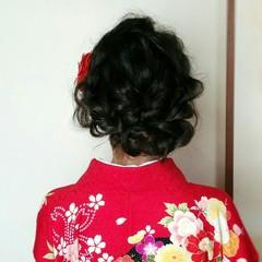 着物 ミディアム 黒髪 ヘアアレンジ ヘアスタイルや髪型の写真・画像