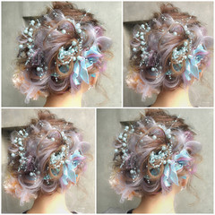 ハーフアップ ゆるふわ 簡単ヘアアレンジ フェミニン ヘアスタイルや髪型の写真・画像
