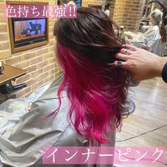 ストリート デザインカラー セミロング インナーピンク ヘアスタイルや髪型の写真・画像