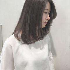 ボブ 透明感 ナチュラル セミロング ヘアスタイルや髪型の写真・画像