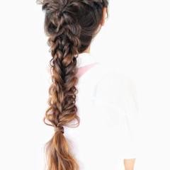 編み込み フェミニン フィッシュボーン ロング ヘアスタイルや髪型の写真・画像