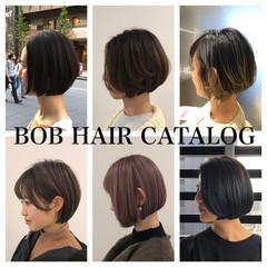 モテボブ ミニボブ 前下がりボブ まとまるボブ ヘアスタイルや髪型の写真・画像