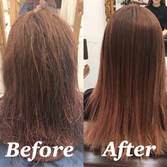 髪質改善トリートメント セミロング 髪質改善 縮毛矯正 ヘアスタイルや髪型の写真・画像