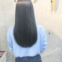 暗髪 モード ネイビー ロング ヘアスタイルや髪型の写真・画像