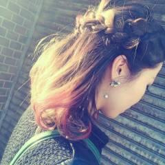 ピンク ナチュラル 編み込み ヘアアレンジ ヘアスタイルや髪型の写真・画像