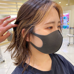 モード ミルクティーベージュ ベージュ インナーカラー ヘアスタイルや髪型の写真・画像