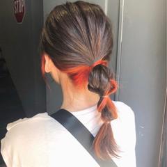 ガーリー 簡単ヘアアレンジ ヘアアレンジ インナーカラー ヘアスタイルや髪型の写真・画像