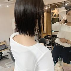 切りっぱなしボブ 切りっぱなし ハイライト ショート ヘアスタイルや髪型の写真・画像