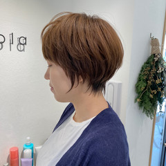 ショートヘア ナチュラル ショートボブ ワンカール ヘアスタイルや髪型の写真・画像