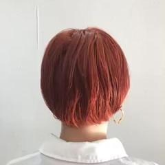 ミニボブ ブラットオレンジ アプリコットオレンジ ショートボブ ヘアスタイルや髪型の写真・画像