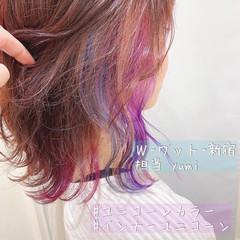 ユニコーン ショートヘア ミディアム 切りっぱなしボブ ヘアスタイルや髪型の写真・画像