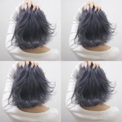 切りっぱなし ボブ ブルー ネイビー ヘアスタイルや髪型の写真・画像