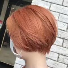 ナチュラル オレンジ オレンジカラー ショートボブ ヘアスタイルや髪型の写真・画像