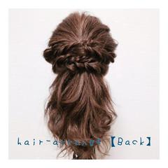 ハーフアップ フェミニン ロープ編み ゆるふわ ヘアスタイルや髪型の写真・画像