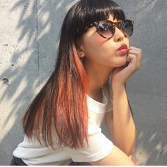 ロング ストリート ダブルカラー イエロー ヘアスタイルや髪型の写真・画像